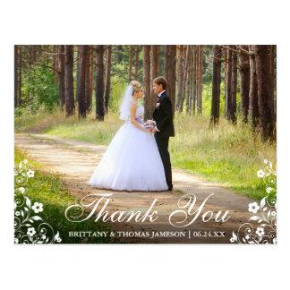Wedding Thank You Floral Trim Photo Postcard