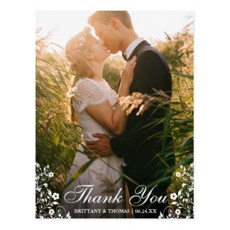 Wedding Thank You Floral Trim Photo Postcard L