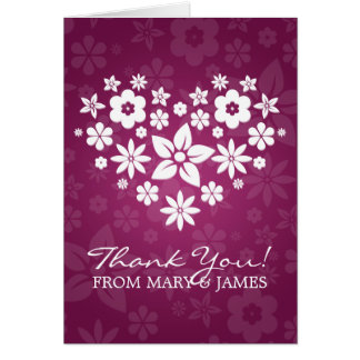 """Wedding """"Thank you"""" Flowery Heart Berry Pink Card"""