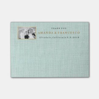 Wedding Thank You Gift Favor Burlap Mint Post-it® Notes