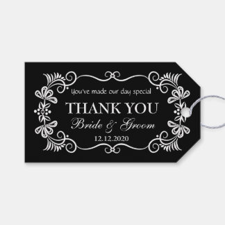 Wedding Thank You Gift Tags | Black White Swirls