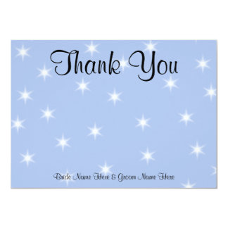 Wedding Thank You in Light Blue with White Stars. 11 Cm X 16 Cm Invitation Card