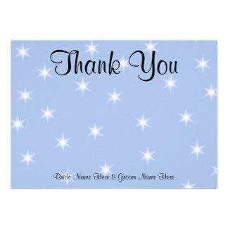 Wedding Thank You in Light Blue with White Stars. Invites