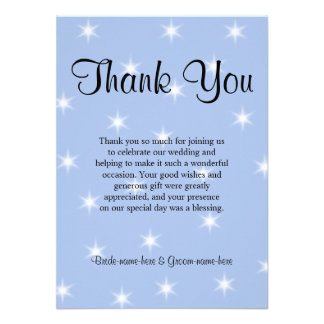 Wedding Thank You in Light Blue with White Stars Custom Invites