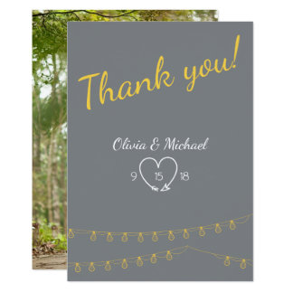 Wedding Thank You in yellow and gray with lights Card