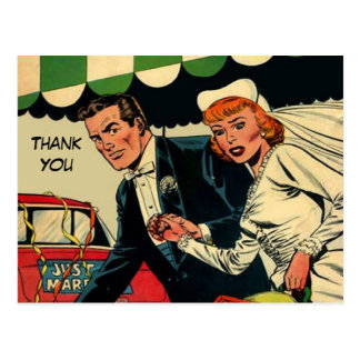 Wedding thank you Just married couple Postcard