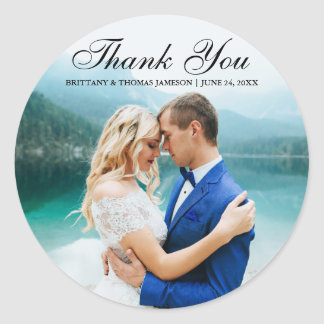 Wedding Thank You Modern Photo Sticker BT R