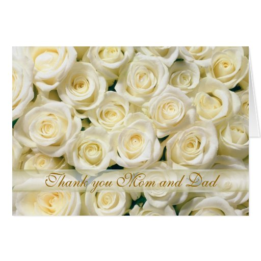 Wedding Thank you Mom and Dad Card, white roses