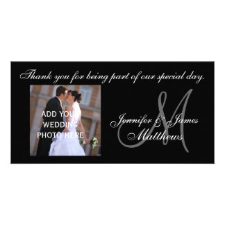 Wedding Thank You Monogram and Message Photo Card Template