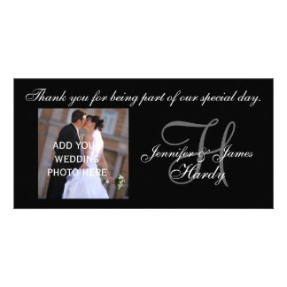 Wedding Thank You Monogram H and Message Photo Cards