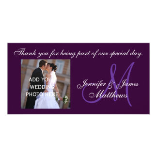 Wedding Thank You Monogram Message Purple Card