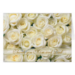 Wedding Thank you Mum and Dad Card, white roses
