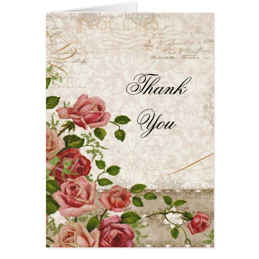 Wedding Thank You Note Card - Tea Rose Vintag Lace