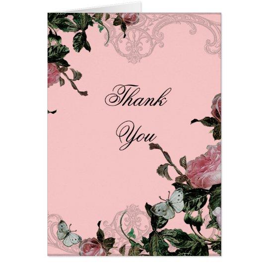 Wedding Thank You Note Card - Trellis Rose Vintage