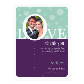WEDDING THANK YOU NOTE :: LOVEbubbles 6 Postcard