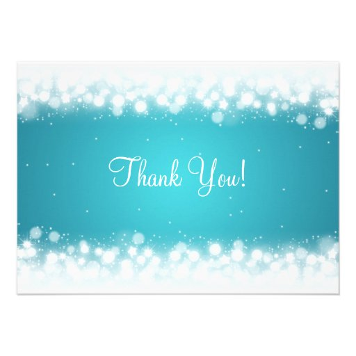 Wedding Thank You Note Magic Sparkle Turquoise Announcements