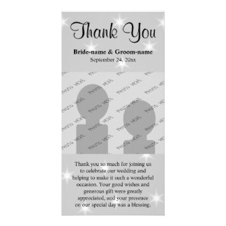 Wedding Thank You, Pale Gray with White Stars. Photo Greeting Card
