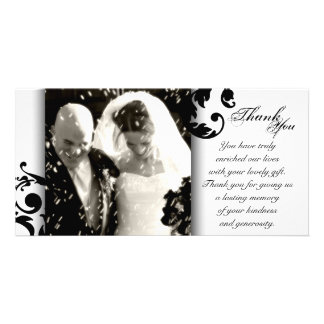 Wedding Thank You Photo Card - Black White