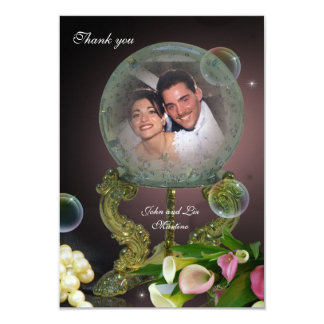 Wedding Thank you photo card crystal Ball 9 Cm X 13 Cm Invitation Card