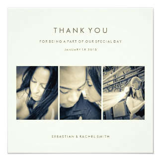 WEDDING THANK YOU PHOTO CARD: SIMPLE CHIC 13 CM X 13 CM SQUARE INVITATION CARD