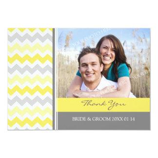 Wedding Thank You Photo Cards Yellow Gray Chevron 13 Cm X 18 Cm Invitation Card