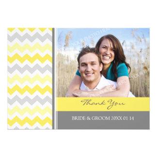 Wedding Thank You Photo Cards Yellow Gray Chevron