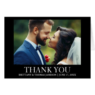 Wedding Thank You Photo Fold Card Black and White