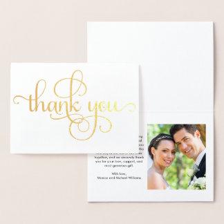 Wedding Thank You Photo Gold Foil Card