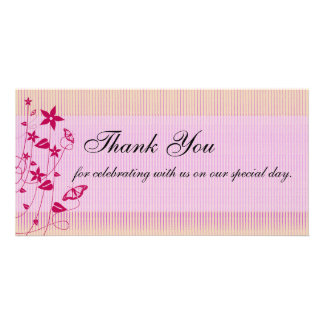 Wedding Thank You Pink Red Flower Butterfly Picture Card