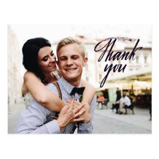 Wedding Thank You Postcard Custom Photos Elegant