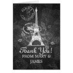 "Wedding ""Thank you"" Romantic Paris Black Greeting Card"