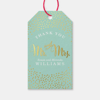WEDDING THANK YOU rustic gold confetti spot MINT Gift Tags
