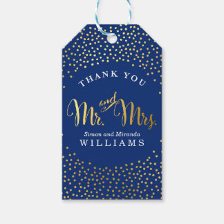 WEDDING THANK YOU rustic gold confetti spot navy Gift Tags