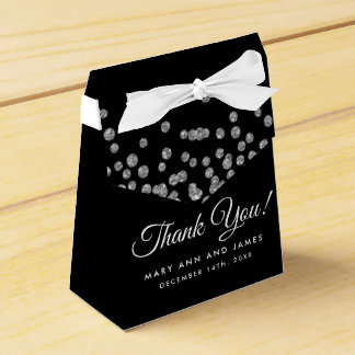 Wedding Thank You Silver Glitter Confetti Black Favour Box