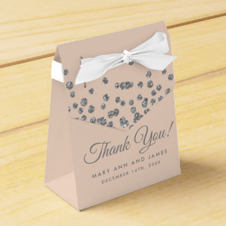 Wedding Thank You Silver Glitter Confetti Blush Favour Box