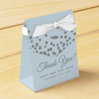 Wedding Thank You Silver Glitter Confetti Ice Blue Favour Box