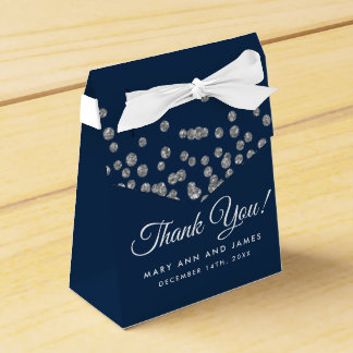 Wedding Thank You Silver Glitter Confetti Navy Favour Box