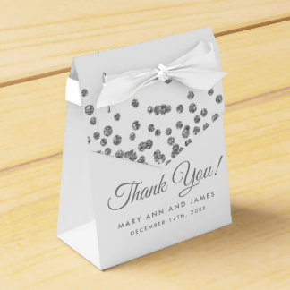 Wedding Thank You Silver Glitter Confetti White Favour Box