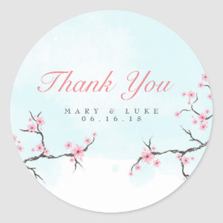 Wedding Thank You | Watercolor Cherry Blossoms Classic Round Sticker