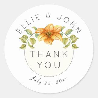 Wedding Thank You Watercolor Star Flower Round Sticker
