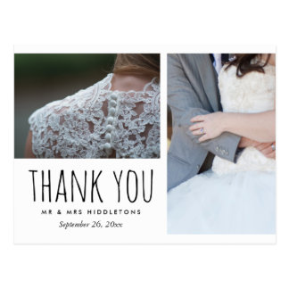 Wedding Thank You Whimsical | Two Photos Postcard