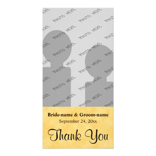 Wedding Thank You. Yellow and Black. Picture Card