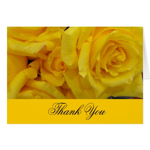 wedding thank you yellow rose flowers card