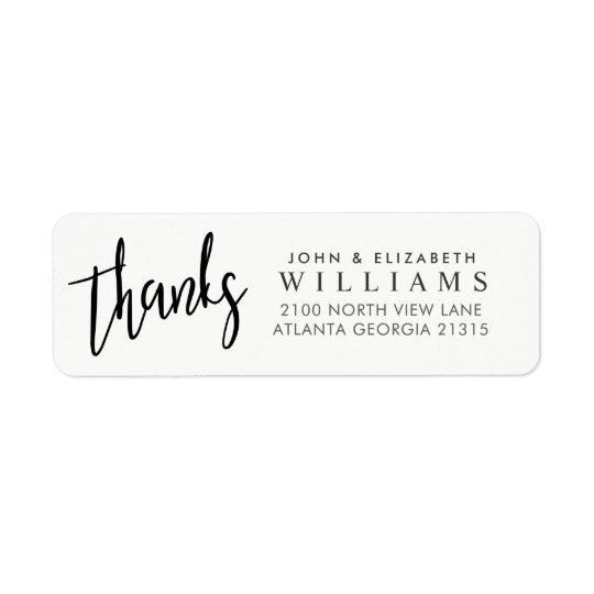 Wedding thanks Typography   Return Address