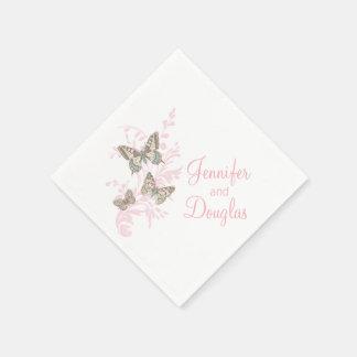 Wedding three ink butterflies pink paper napkin