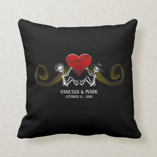 Wedding Throw Pillow - Skeletons with Heart