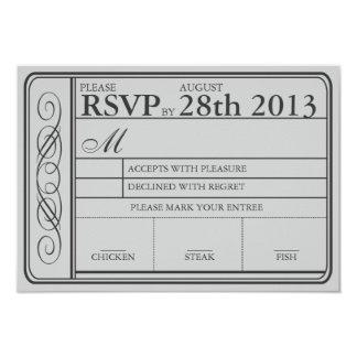 Wedding Ticket RSVP  II  Punchout Gray 9 Cm X 13 Cm Invitation Card
