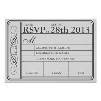 Wedding Ticket RSVP II Punchout Gray Announcements