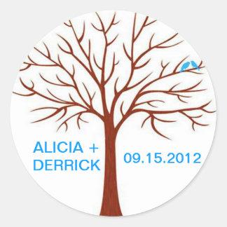 Wedding Tree Love Birds-Sticker Round Sticker