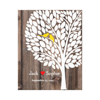 wedding tree signature guestbook birds yellow wood canvas print